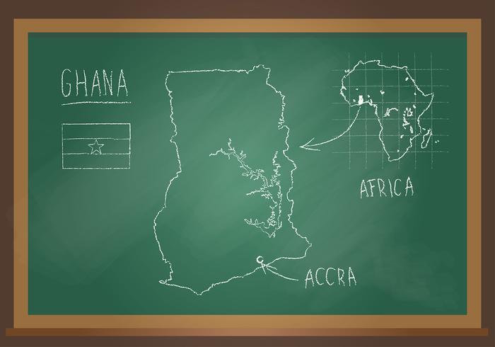 Ghana Map Chalk Black Board Free Vector