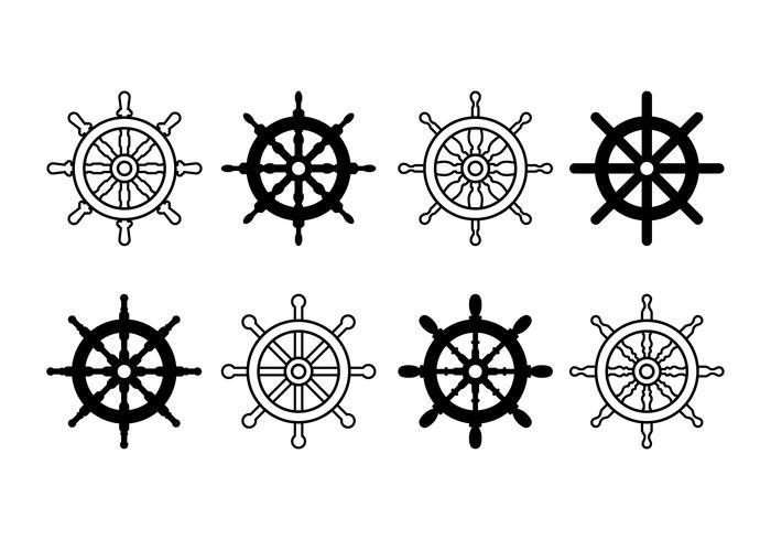 Schiff Rad Set Symbole vektor