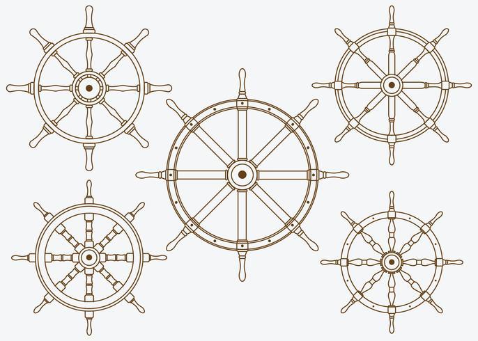 skeppshjuluppsättning linje vektor