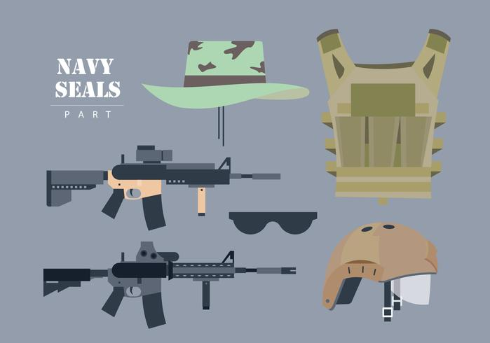 Navy Seals Waffenset Vector Flat Illustration