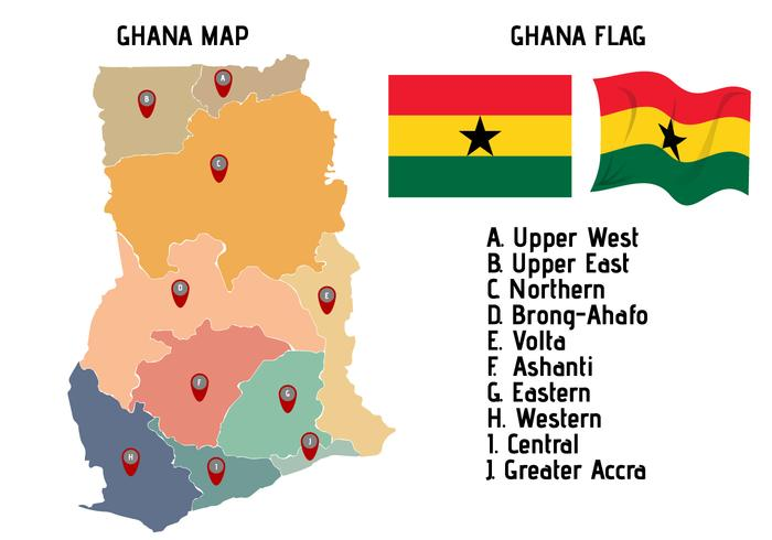 Bunte Ghana Karte
