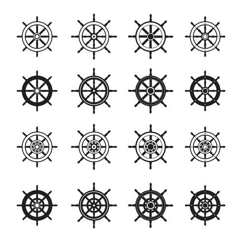 Ships Wheel Silhouette Vector Pack