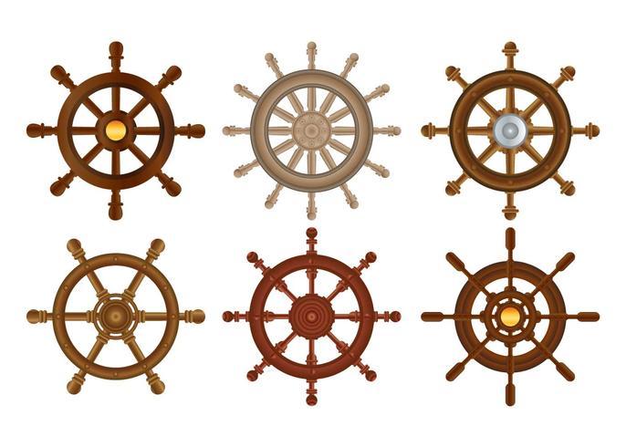 Ship wheel vector set