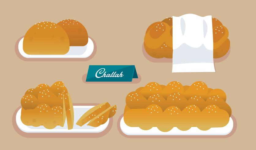 French Bakery Challah Vector Flat Illustration