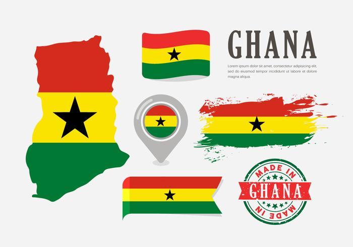 Ghana Kaart Vector Set En Pictogrammen