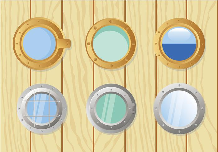 Schiff Windows Set Free Vector