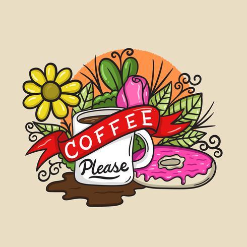 Kaffee bitte Becher Vektor