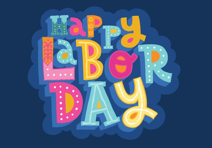 Happy Labor Day Lettering Vector