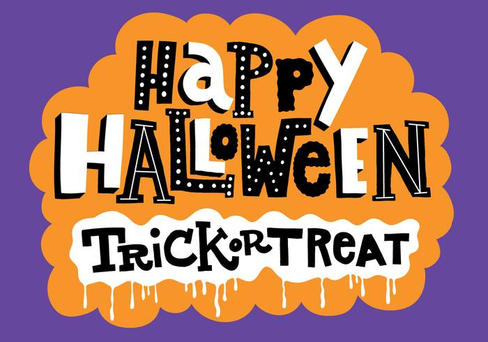 Halloween Trick or Treat Lettering Vector