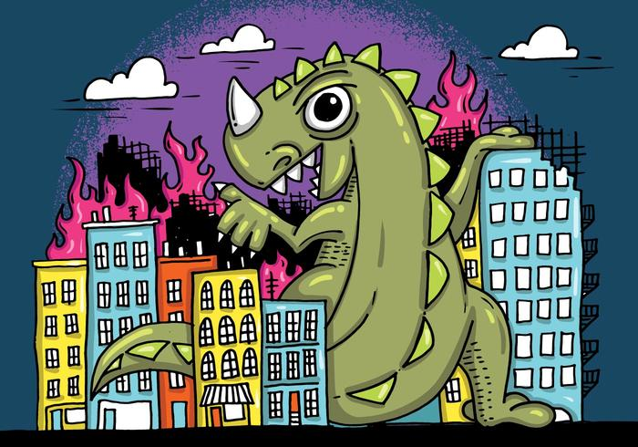 Monster Smashing City Vector