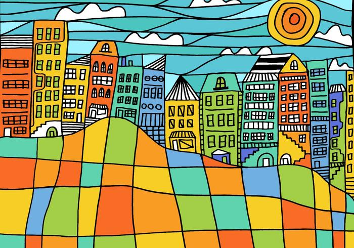Kleurrijke Blok Cityscape Vector