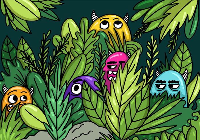 Monsters Verbergen In De Jungle Vector