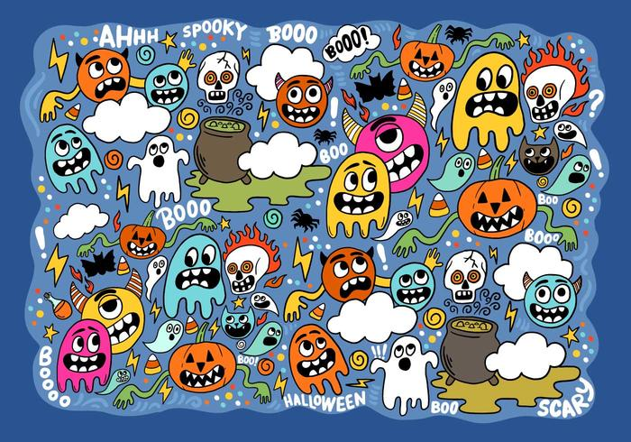 Halloween Ghosts & Goblins Vector - Download Free Vectors ...
