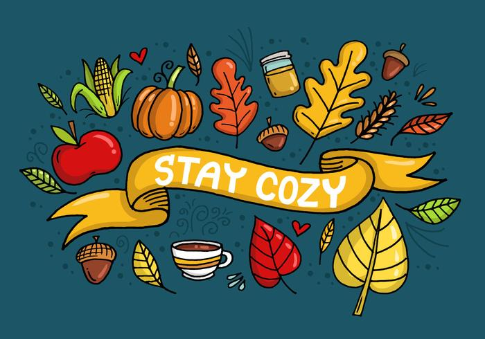 Stay Cozy Fall Leaves Banner Vector