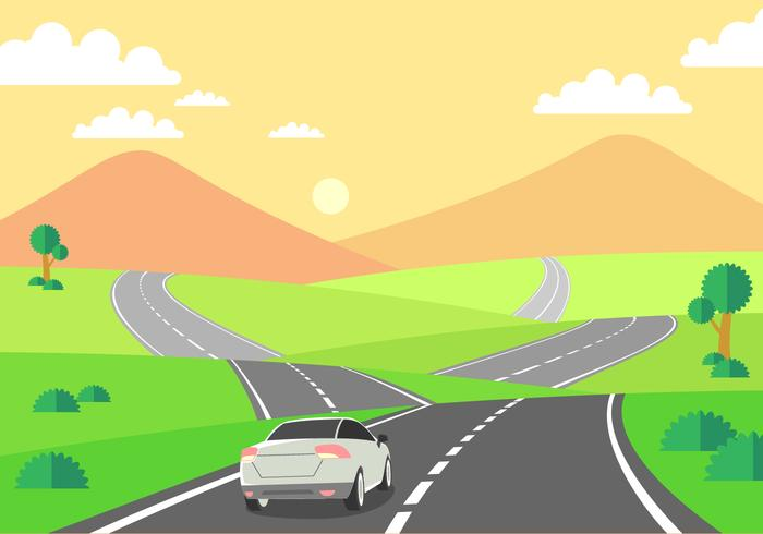 Driving On The Highway Free Vector