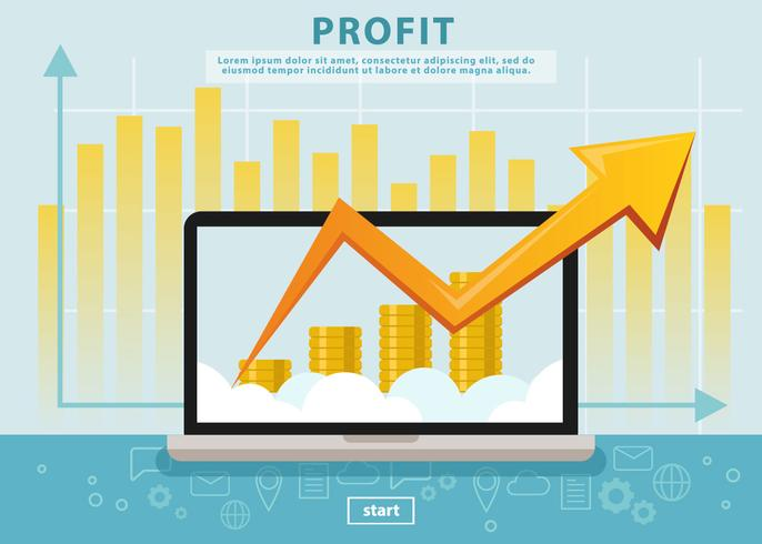 Beneficio de ingresos de negocios con computadora portátil