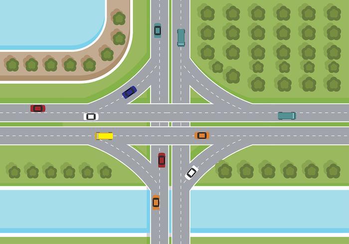 snelweg bovenaanzicht vector