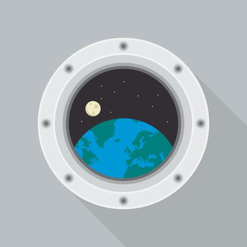 Round Spaceship Porthole with Earth View Vector