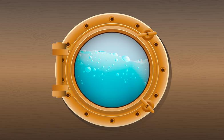 Round porthole on a wooden surface