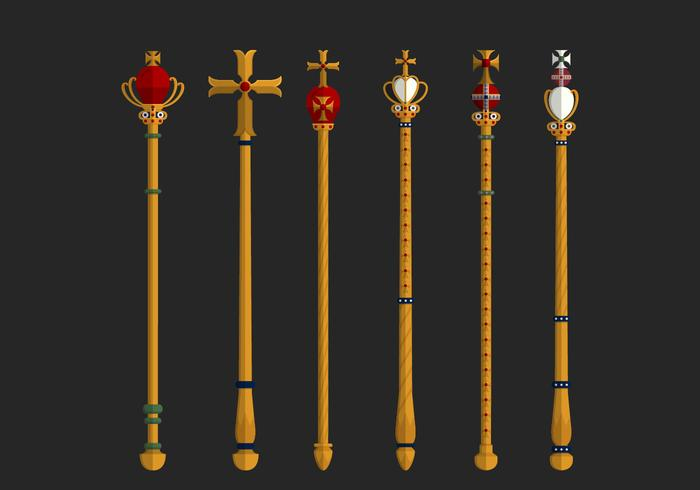 Set Of Golden Sceptre Vector Elements