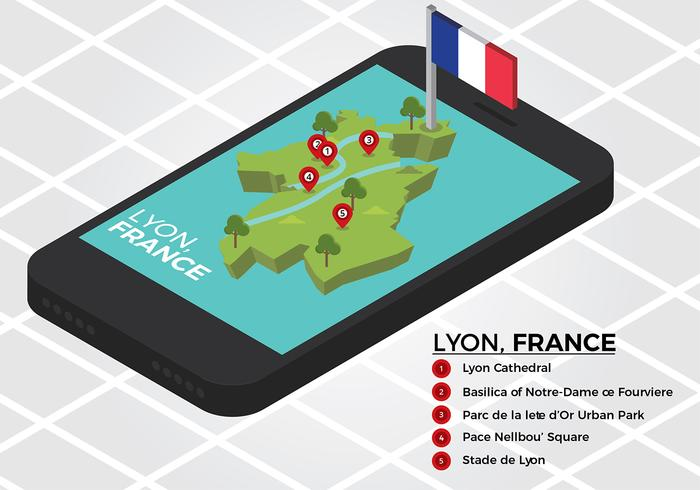 Lyon Map Isometric Phone Free Vector