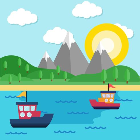 Boats on the Sea Background Vector