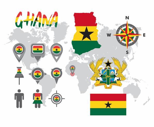 Ghana Kaart Vector Pakket