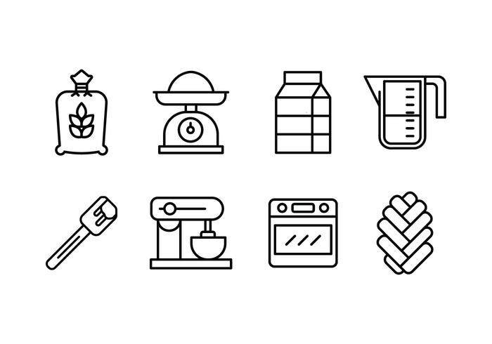 Challah bread making set icons
