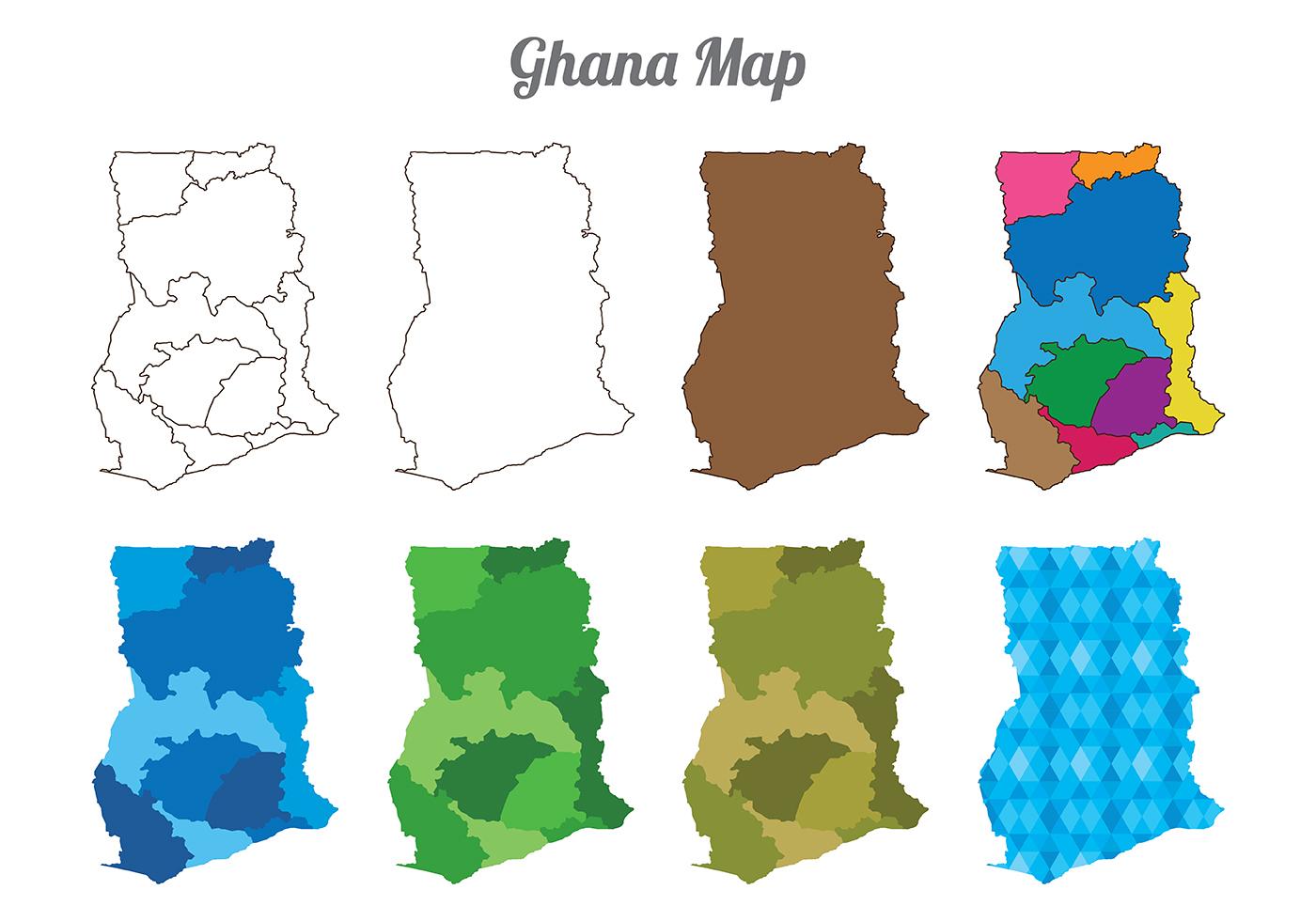 ghana map vectors