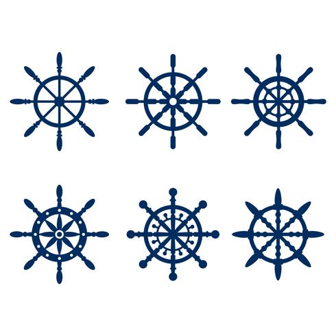 Blue Marine Ships Wheel Silhouette Vector