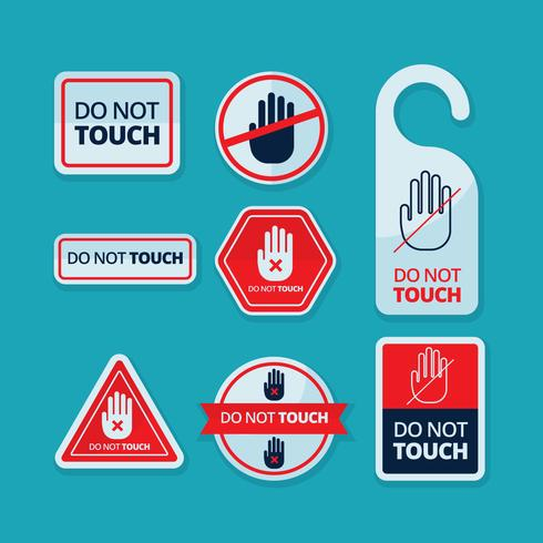 Free Do Not Touch Sticker Label Vector