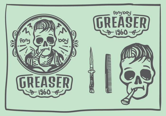 Logotipo do Doodle do crânio de Greaser