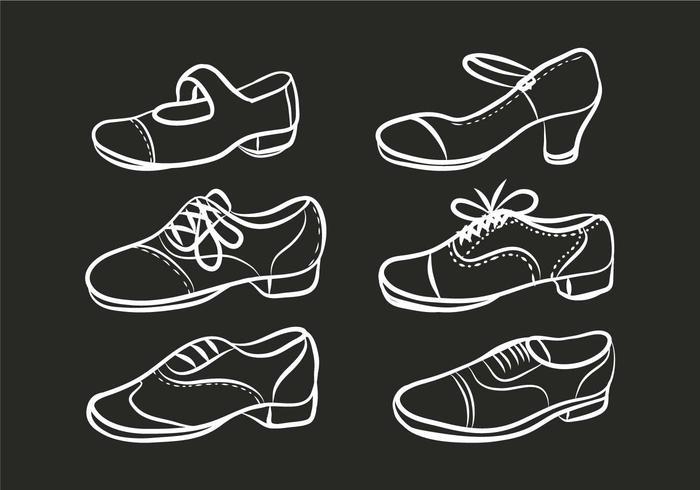 Tap shoes vector set