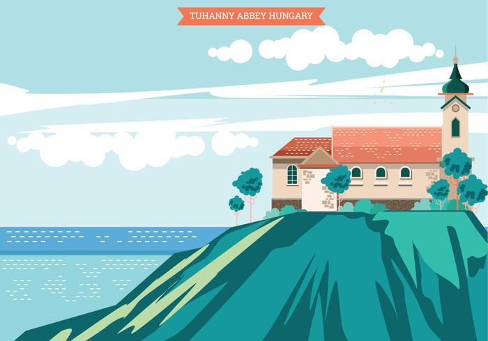 Illustrazione dell'abbazia di Tuhanny. Ungheria
