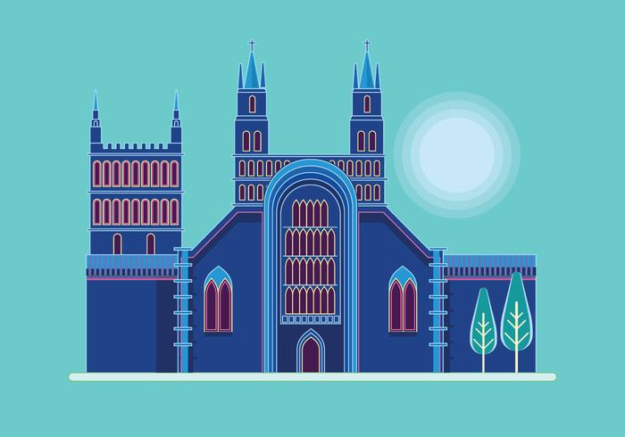 Illustration of Tewkesbury Abbey, Gloucestershire, UK