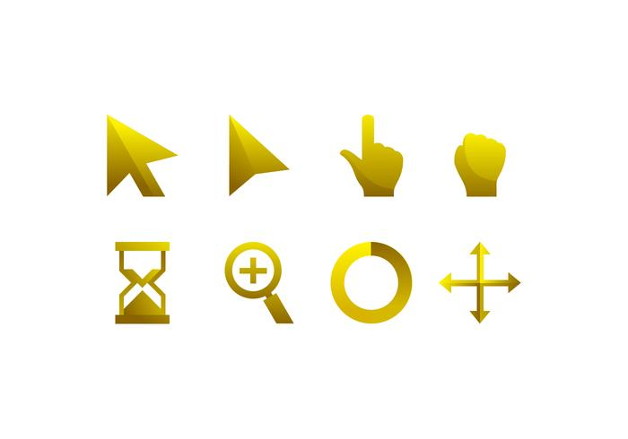 Gold Mouse Over Icon Free Vector