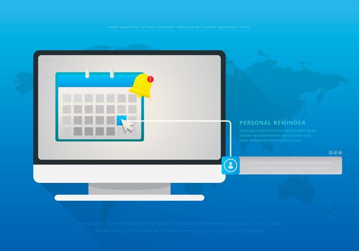 Mouse Over Personal Reminder Illustration. Website Design Menu.