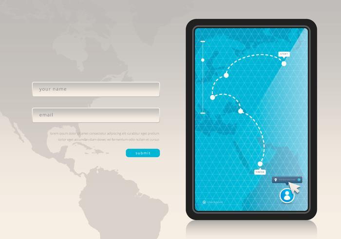 Maus über Ort / GPS-Programm. Website-Design-Menü.