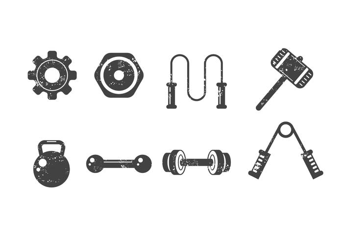 Free Fitness and Gym Vector Icons with Grunge Style