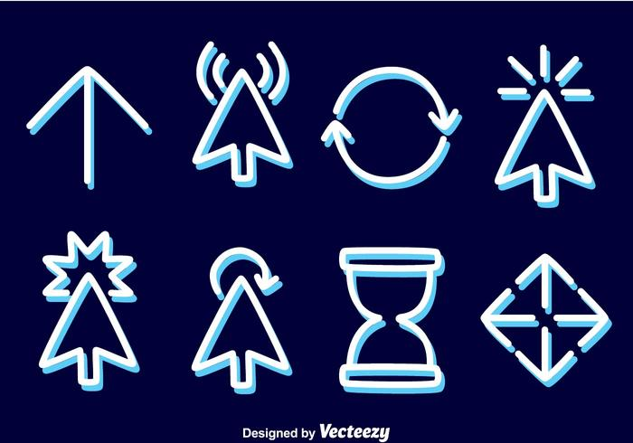 Mouse Cursor Line Icons Vector