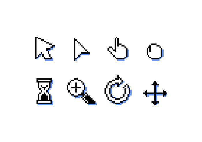 Maus über Pixel Icon kostenlose Vector