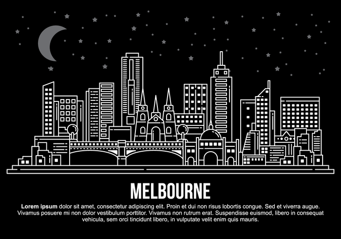 Melbourne City-Vektor-Illustration