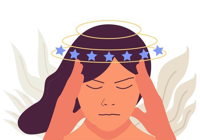 Vecteur de maux de tête de vertige