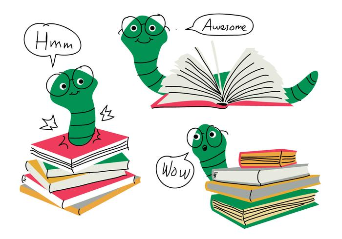 Book Worm Cartoon Doodle Character Vector Illustration