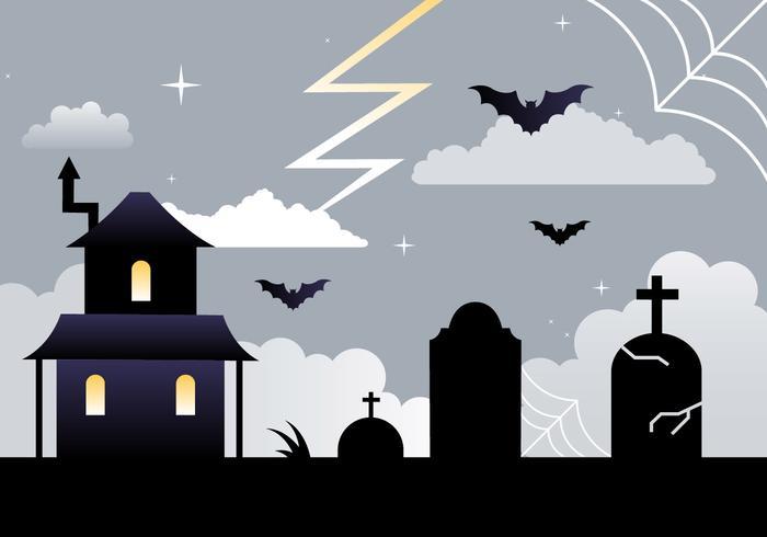 Free Flat Design Vector Halloween Background