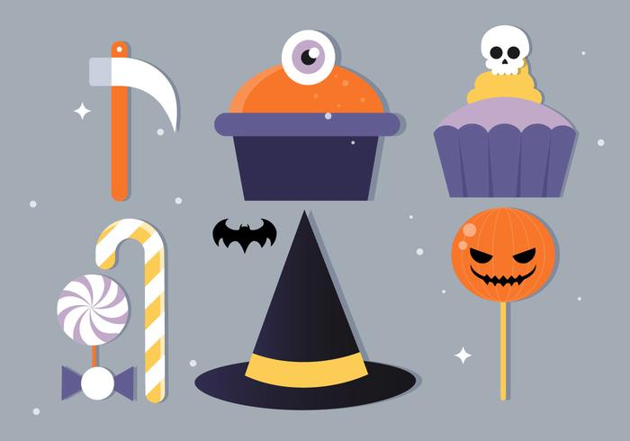 Gratis Flat Design Vektor Halloween Elements Illustration