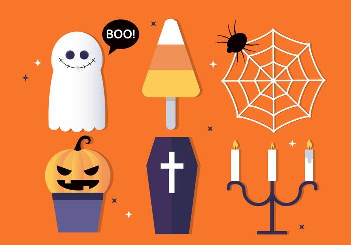 Gratis Flat Design Vektor Halloween Elements Illustration