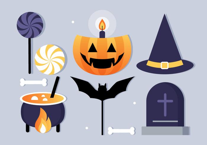 Illustration de vecteur gratuit Design plat Halloween Elements