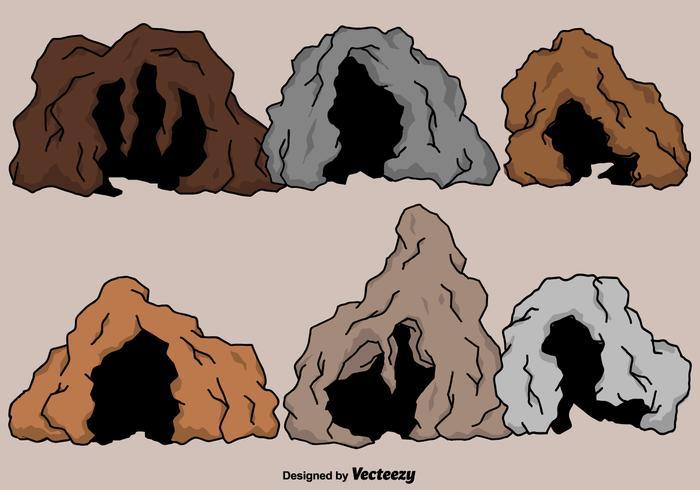 Vektor-Cartoon-Höhlen-Set