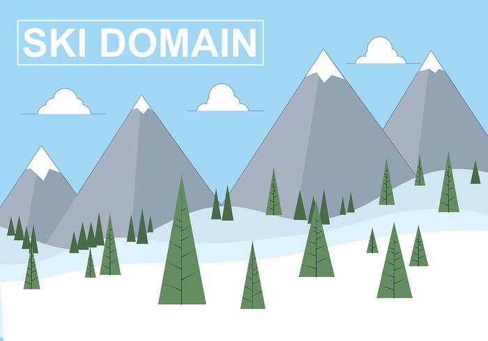 Kostenlose Wohnung Vector Ski Domain Illustration